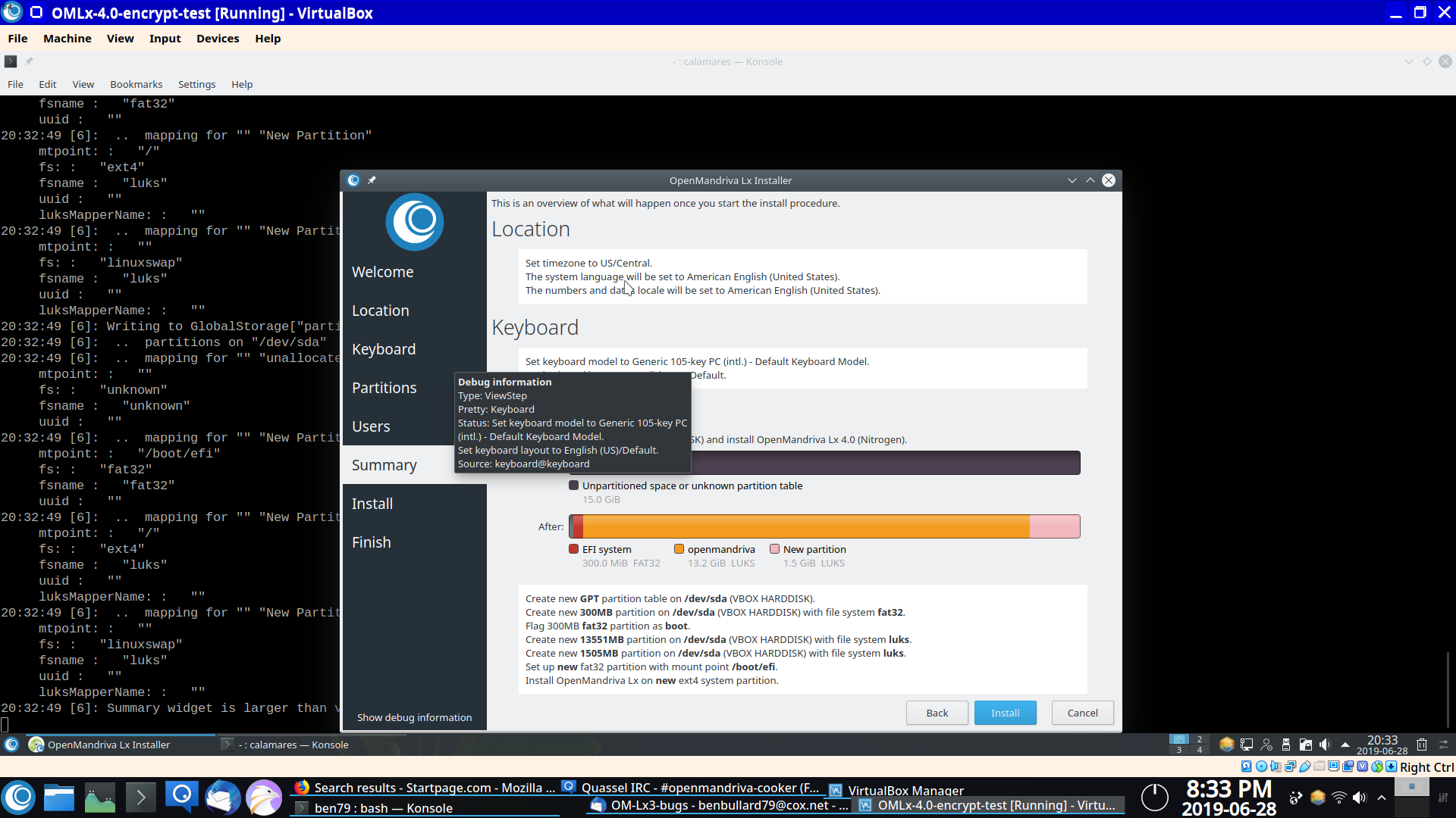 Installation in virtualbox in luks encrypted partitions failed