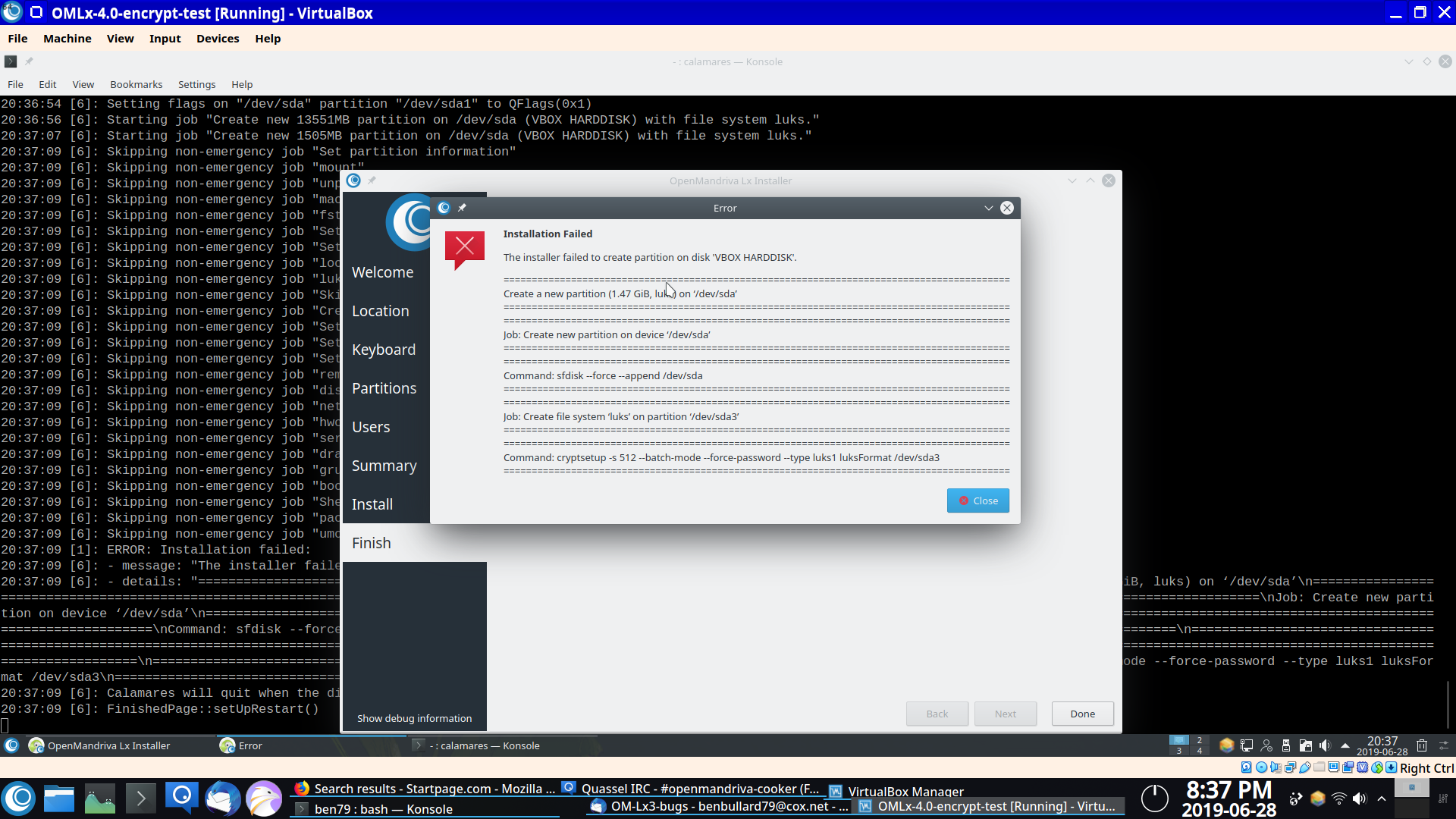 Installation in virtualbox in luks encrypted partitions